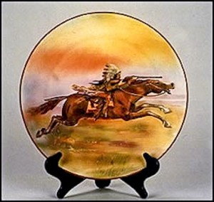 "Wall plaques were very popular during the Nippon era. Plaques can be found as small as 6 inches and as large as fifteen inches. While most are simply handpainted, some are also molded-in-relief like this 15"" indian on a pony. This same scene can be found on a smaller 10 1/2"" plaque. The backstamp is the green M-in-wreath."