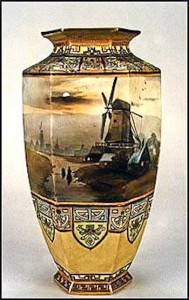 "Another example of classic Nippon artistry. This scene, ""Midnight Windmill"", can be found on humidors, chocolate sets, tea sets, wall plaques and many other vases. This vase has the familiar M-in-wreath back stamp."